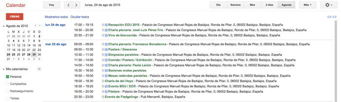 Calendario para el congreso