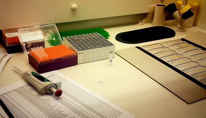 Mesa de trabajo con muestras de esperma de aves
