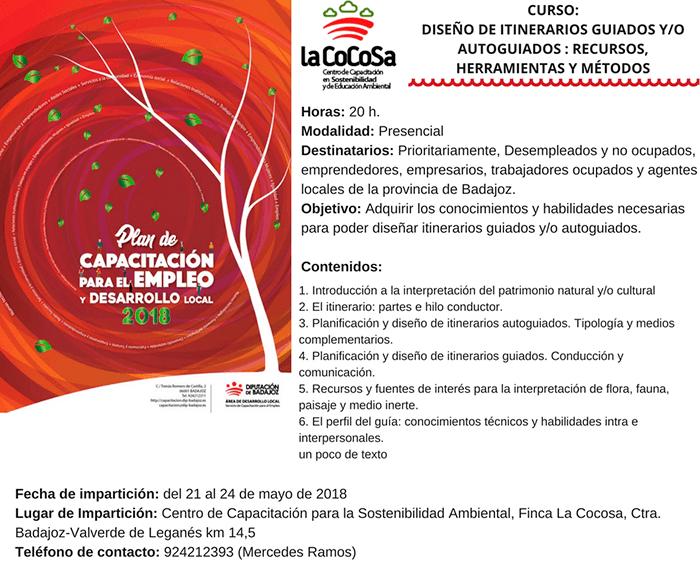 Cartel del curso de la diputación de Badajoz sobre itinerarios